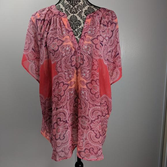 5234b27fc2696 a.n.a Tops - Ana top size 3X pink orange sheer paisley